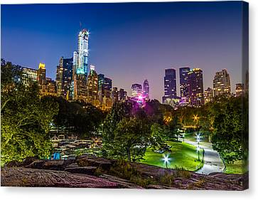 Central Park Late At Night Canvas Print by Val Black Russian Tourchin
