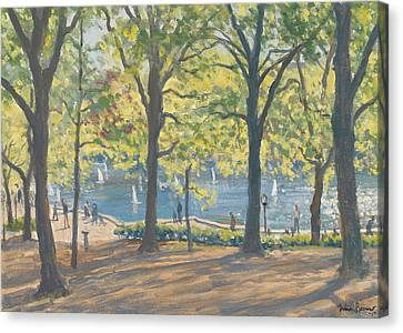 Toy Boat Canvas Print - Central Park New York by Julian Barrow
