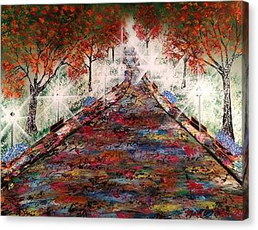 Canvas Print featuring the painting Central Park - New York by Michael Rucker