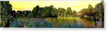 Central Park Panorama At Sunset Canvas Print by Bob and Nadine Johnston