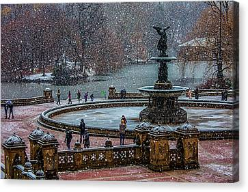 Central Park Snow Storm Canvas Print by Chris Lord