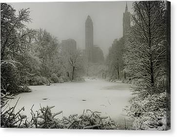 Canvas Print featuring the photograph Central Park Snowstorm by Chris Lord
