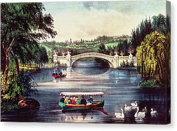 Willow Lake Canvas Print - Central Park   The Bridge  by Currier and Ives
