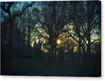Central Park Vintage Sunset Canvas Print by Marianne Campolongo