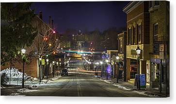 Canvas Print featuring the pyrography Centre Street by David Hufstader