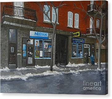 Centre Street Pointe St Charles Canvas Print by Reb Frost