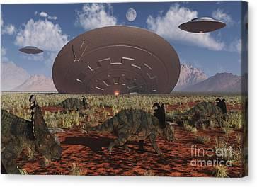 Centrosaurus Dinosaurs Walk Past A Ufo Canvas Print by Mark Stevenson