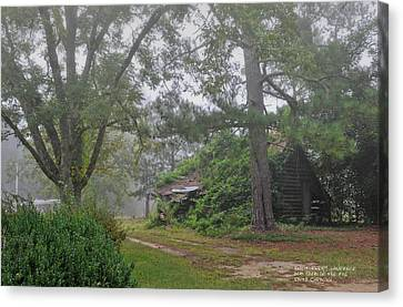 Century-old Shed In The Fog - South Carolina Canvas Print by David Perry Lawrence