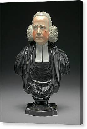 Ceramic Bust Of The Reverend George Whitfield With Ruddy Canvas Print by Litz Collection