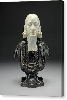 Ceramic Bust Of The Reverend John Wesley In Clerical Collar Canvas Print by Litz Collection