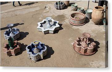 Ceramic Fountains In Yard Of Pottery Canvas Print by Panoramic Images