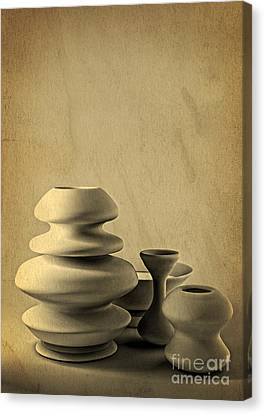Ceramic Pottery Still Life I - Charcoal Sketch Canvas Print by Beverly Claire Kaiya