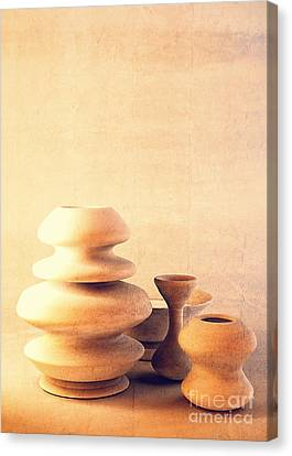 Ceramic Pottery Still Life I - Soft Vintage Canvas Print by Beverly Claire Kaiya