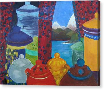 Ceramics View 1 Canvas Print by Karen Coggeshall
