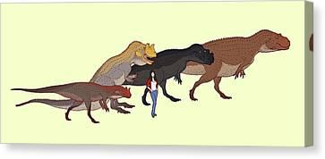 Ceratosaurus Size Comparison Canvas Print by Nemo Ramjet