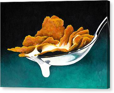 Canvas Print featuring the painting Cereal In Spoon With Milk by Janice Dunbar