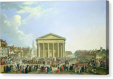 Ceremony Of Laying The First Stone Of The New Church Of St. Genevieve In 1763, 1764 Oil On Canvas Canvas Print by Pierre-Antoine Demachy