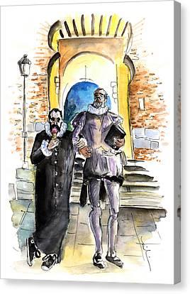 Cervantes And El Greco In Toledo Canvas Print by Miki De Goodaboom