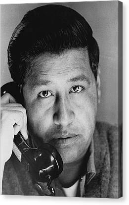 Cesar Chavez On The Phone Canvas Print by Underwood Archives
