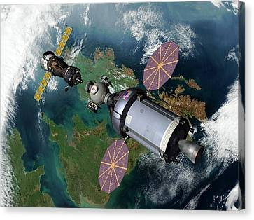 Cev And Soyuz Rendezvous Canvas Print