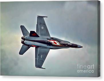 Canvas Print featuring the photograph Cf18 Hornet Topview Flying by Cathy  Beharriell