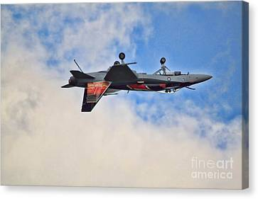 Canvas Print featuring the photograph Cf18 Hornet Upside Down Fly By  by Cathy  Beharriell