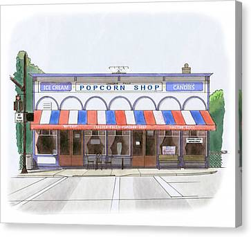 Chagrin Falls Popcorn Shop Canvas Print by Chris Istenes