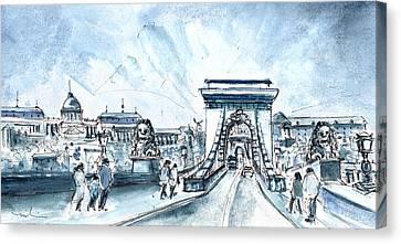 Chain Bridge In Budapest Canvas Print by Miki De Goodaboom