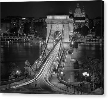Chain Bridge Night Traffic Bw Canvas Print