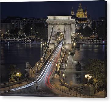 Chain Bridge Night Traffic Canvas Print