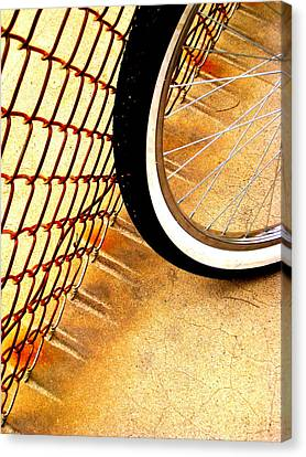Chain Link Fence Scrapes Concrete Canvas Print by John King