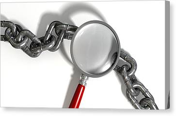 Chain Missing Link Magnifying Glass Canvas Print by Allan Swart