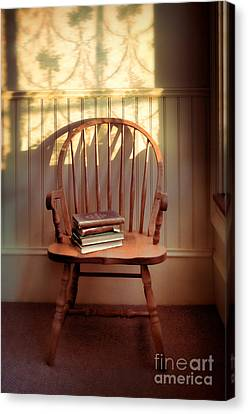 Chair Canvas Print - Chair And Lace Shadows by Jill Battaglia