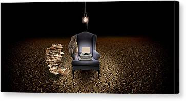 Old Light Bulb Canvas Print - Chair With A Monkey And Typewriter by Panoramic Images