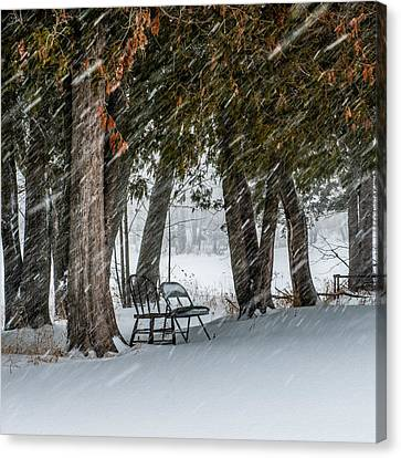 Chairs In A Blizzard Canvas Print by Paul Freidlund