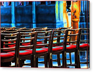 Chairs In Church Canvas Print by Oscar Alvarez Jr