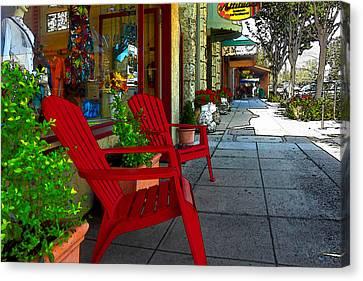 Chairs On A Sidewalk Canvas Print by James Eddy
