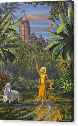 Sacred Artwork Canvas Print - Chaitanya Mahaprabhu In Jaganath Puri by Vrindavan Das