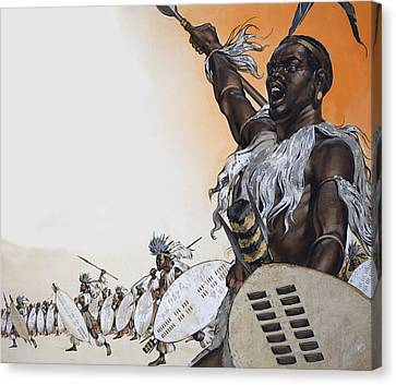 Chaka In Battle At The Head Canvas Print by Angus McBride