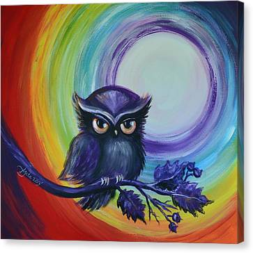 Chakra Meditation With Owl Canvas Print