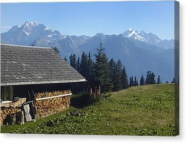 Chalet In The Swiss Alps Bettmeralp Switzerland Canvas Print