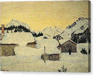 Chalets In Snow Canvas Print by Giovanni Segantini
