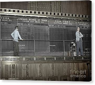 Chalk Board Of Trade 1951 Canvas Print by Martin Konopacki Restoration