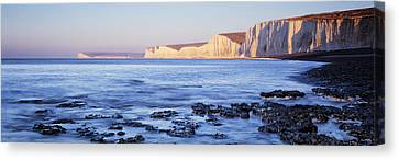 Chalk Cliffs At Seaside, Seven Sisters Canvas Print by Panoramic Images