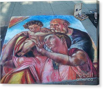 Chalk Painting By Street Artist Canvas Print by Lingfai Leung