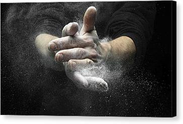 Chalked Hands, High-speed Photograph Canvas Print by Science Photo Library