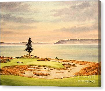 Canvas Print featuring the painting Chambers Bay Golf Course Hole 15 by Bill Holkham