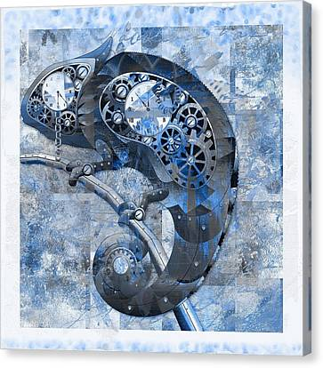 Chameleon - Blue 01b02 Canvas Print by Variance Collections
