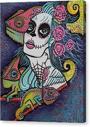 Chameleon Sugar Skull Canvas Print by Laura Barbosa