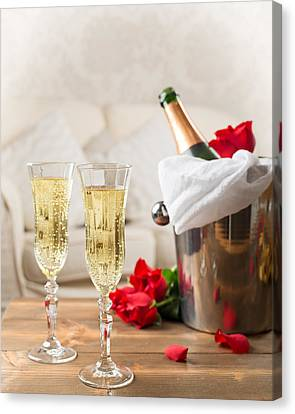 Celebrate Canvas Print - Champagne And Ice Bucket by Amanda Elwell